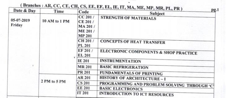 BTER Diploma in Engineering 2019 second year exam dates