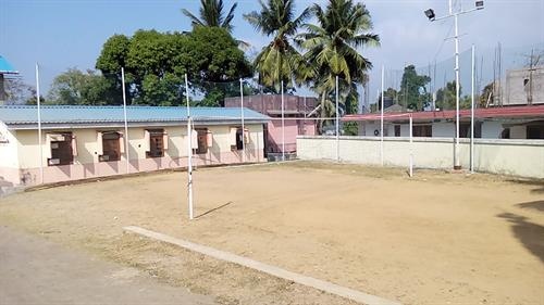 image of volleyball court constructed with PVC net at GSS Delanipur Port Blair