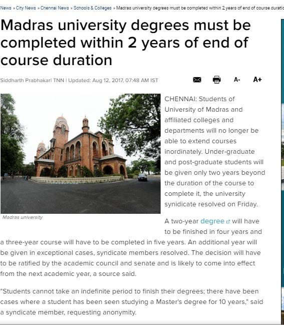 How to clear my arrears and get a degree from the Madras university?