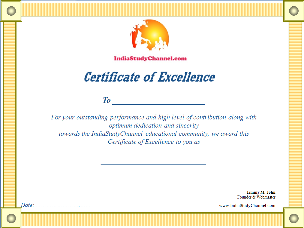 Award Certificates From ISC For Winners