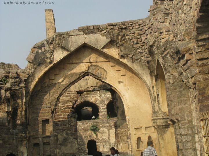 Ruins of stone arch in golconda fort