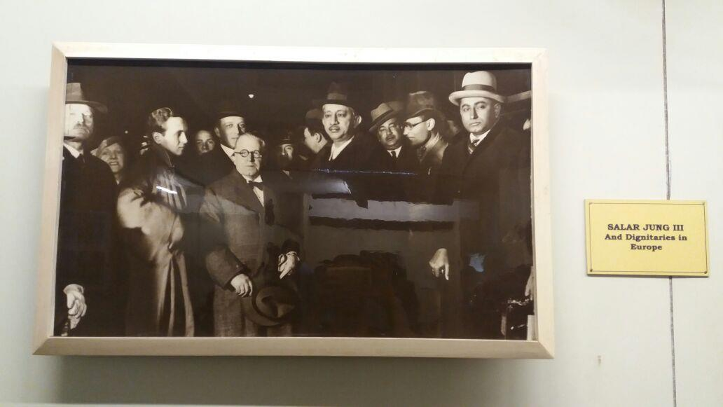 Salar Jung III and its dignitaries in Europe as seen in a photograph of Salar Jung Museum, Hyderabad