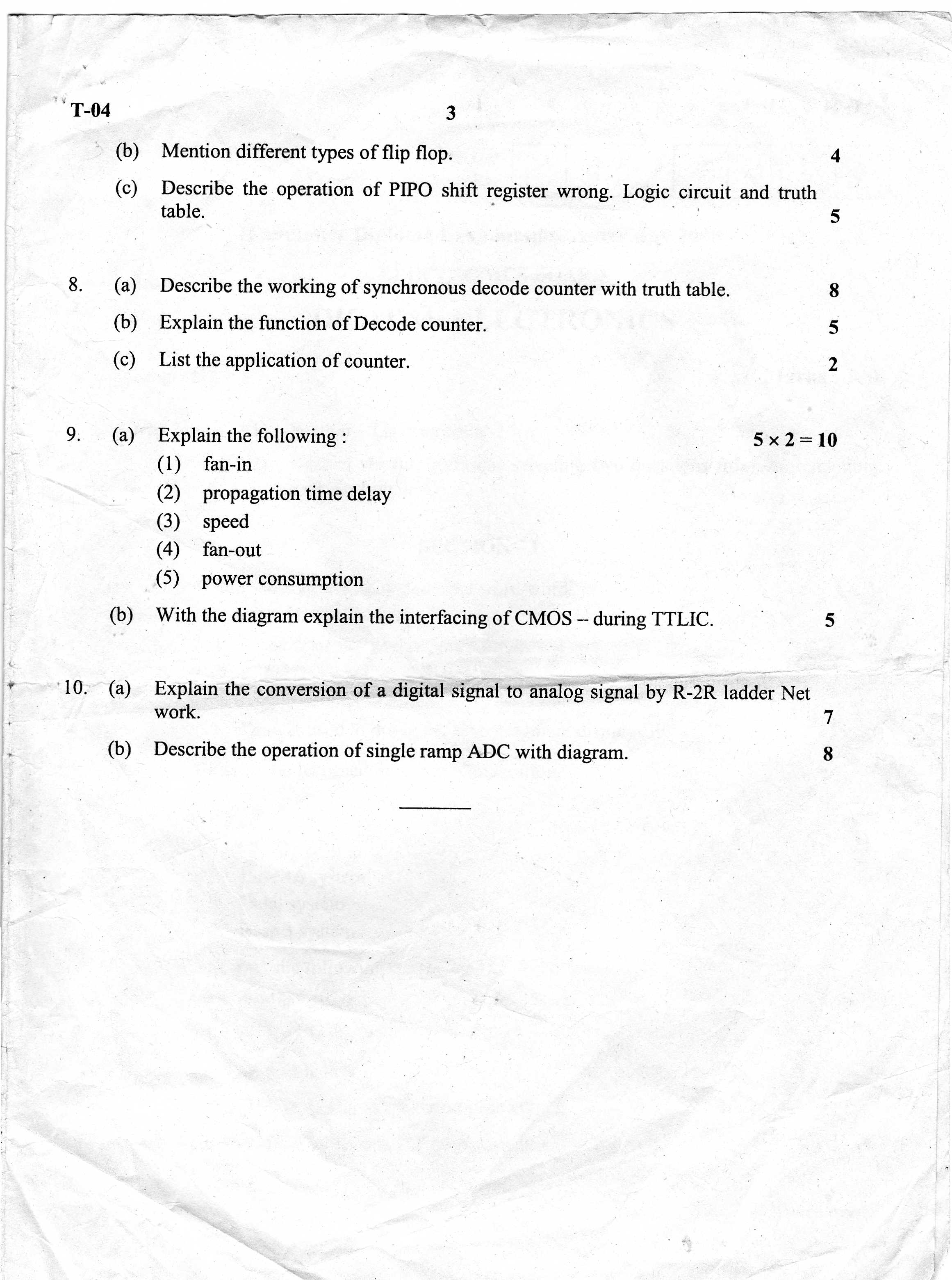 Department Of Technical Education Board Examinations R 2r Ladder Circuit Diagram 2008 Diploma Computer Science And Technology Digital Electronics University Question