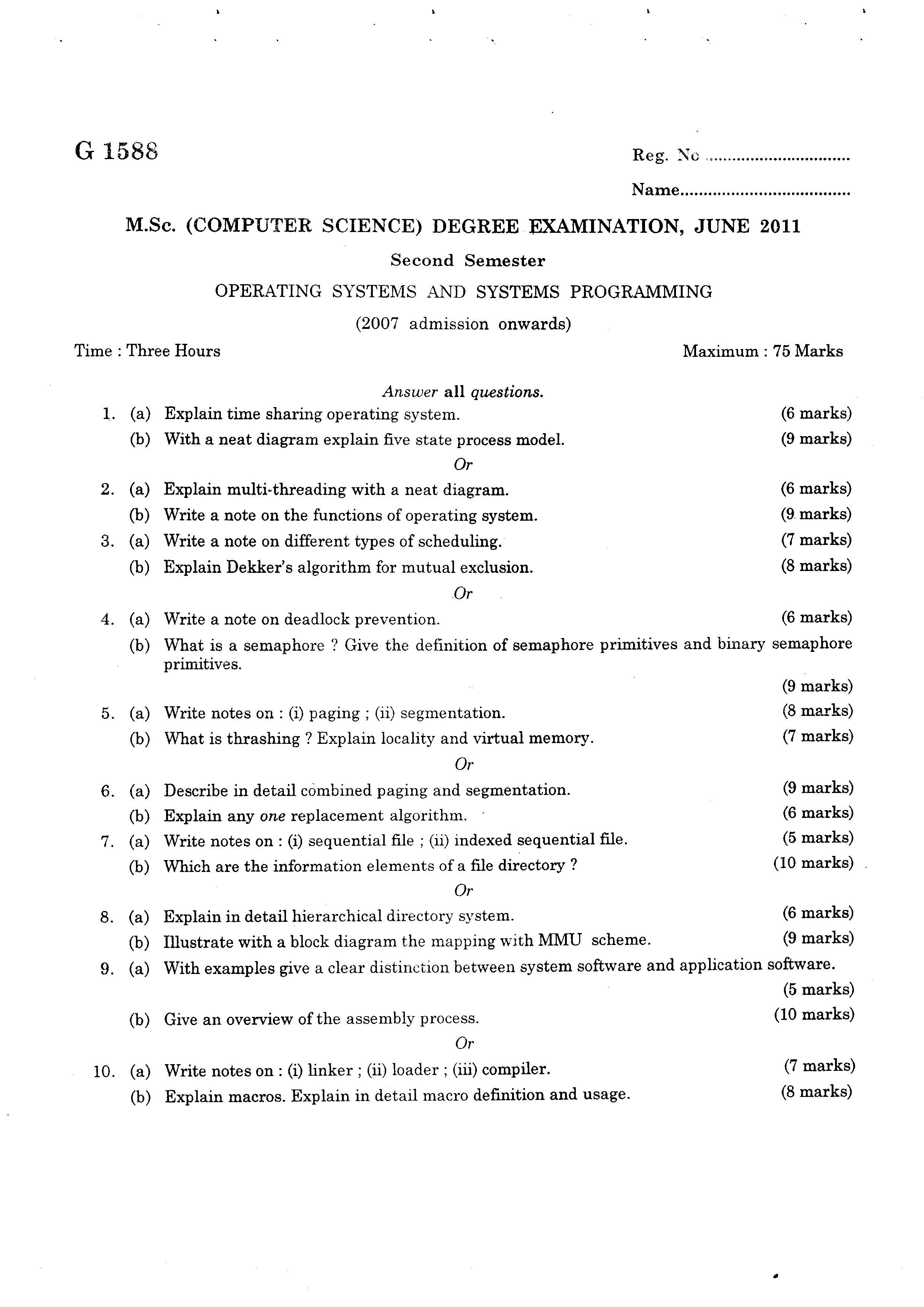 Mahatma Gandhi University Second Semester Computer Science