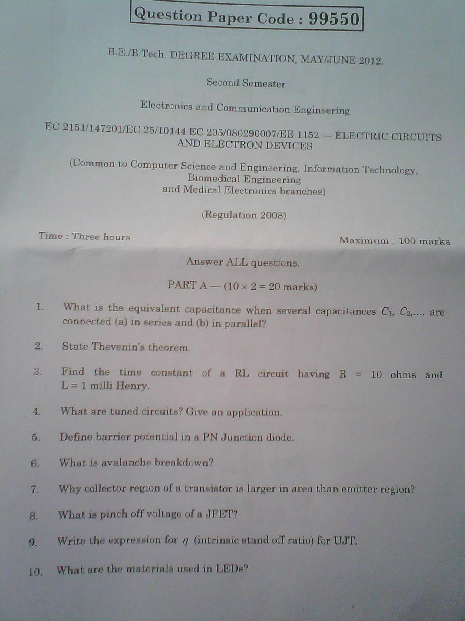 anna university chennai b e b tech degree examination, may june