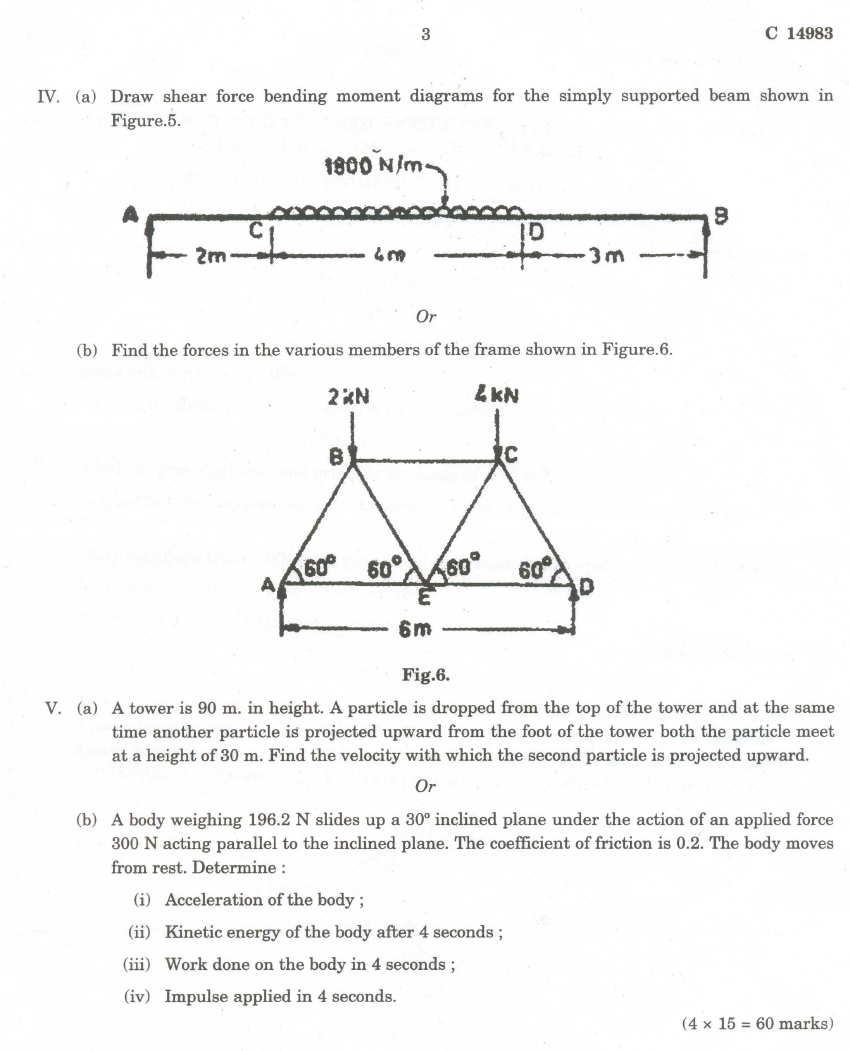 Engineering Mechanics Question Paper 1st Semester Draw Bending Moment Diagram Mechanical For Year And Applying The Core Concepts Of