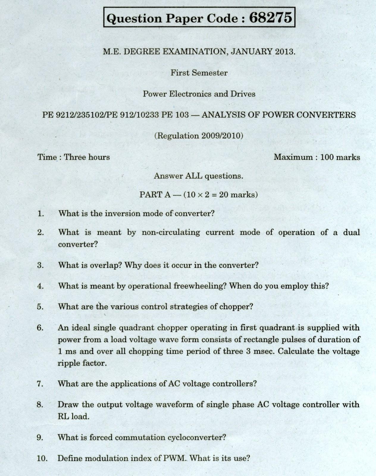 Anna University Chennai PE 9212 Analysis of Power Converters Anna