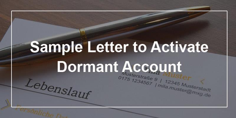 Sample Letter to Activate Dormant Account