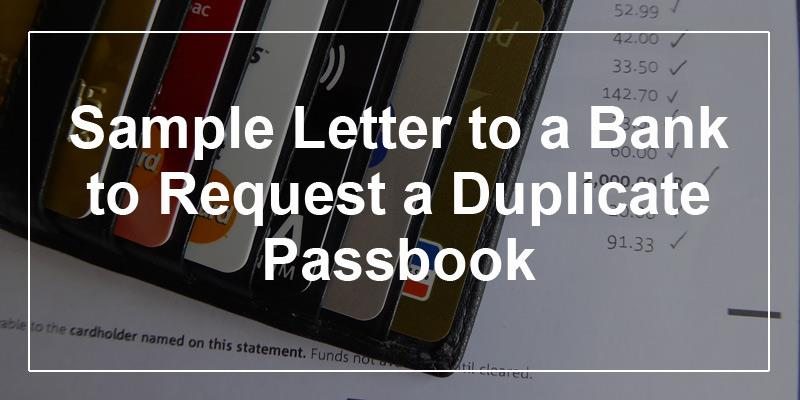 Sample letter to a bank to request a duplicate pass book