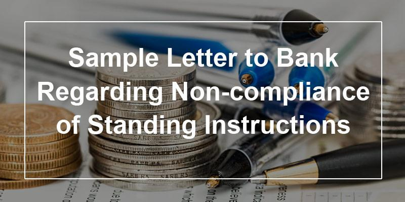Sample complaint letter to bank regarding non-compliance of