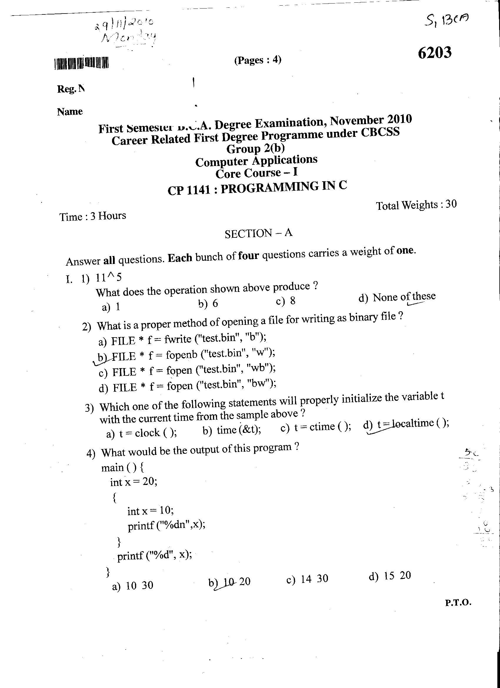 University of Kerala First Semester BCA Degree Examination, November
