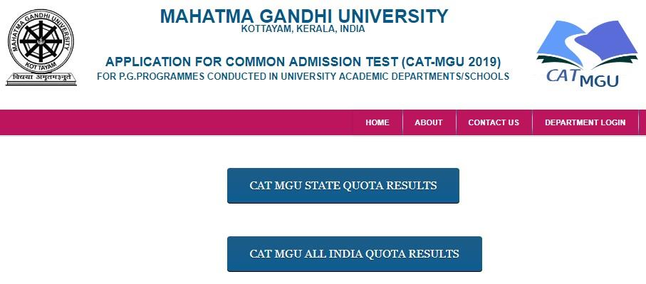 Kerala PG Degree CAT MGU 2019 provisional entrance results index mark 2