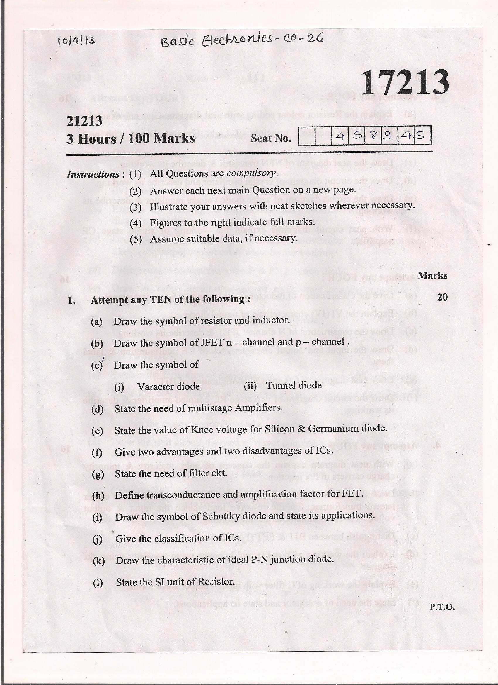 Maharashtra State Board of Technical Education MSBTE Question paper