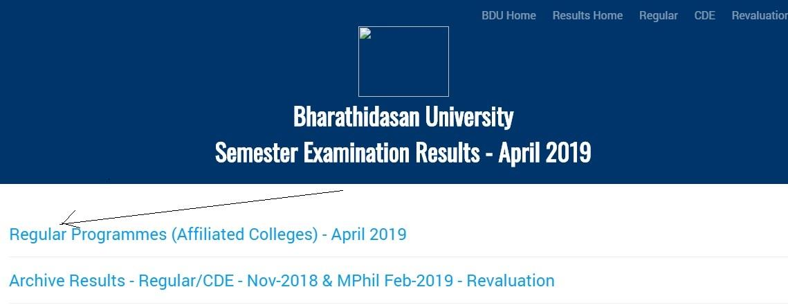 check Bharathidasan University Results 2019 UG PG exams online