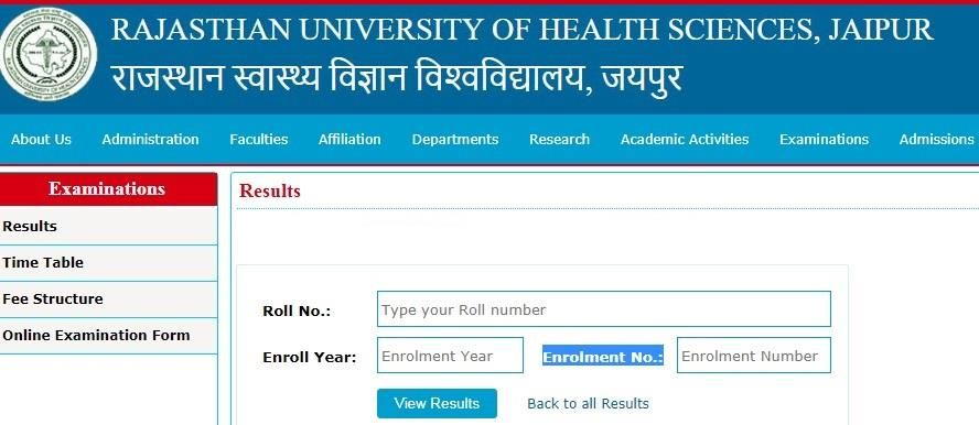 RUHS MSc MDS BDS B.Phram Nursing 2019 exam results