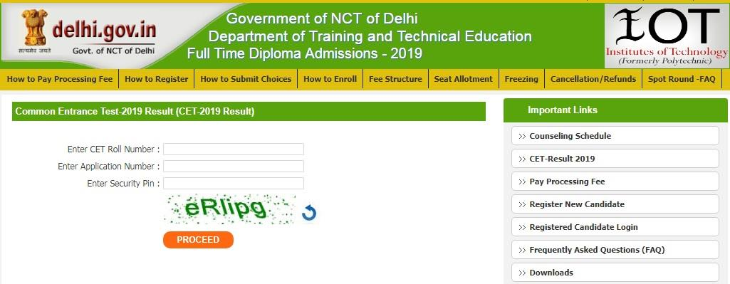 Delhi CET counselling results 2019 published