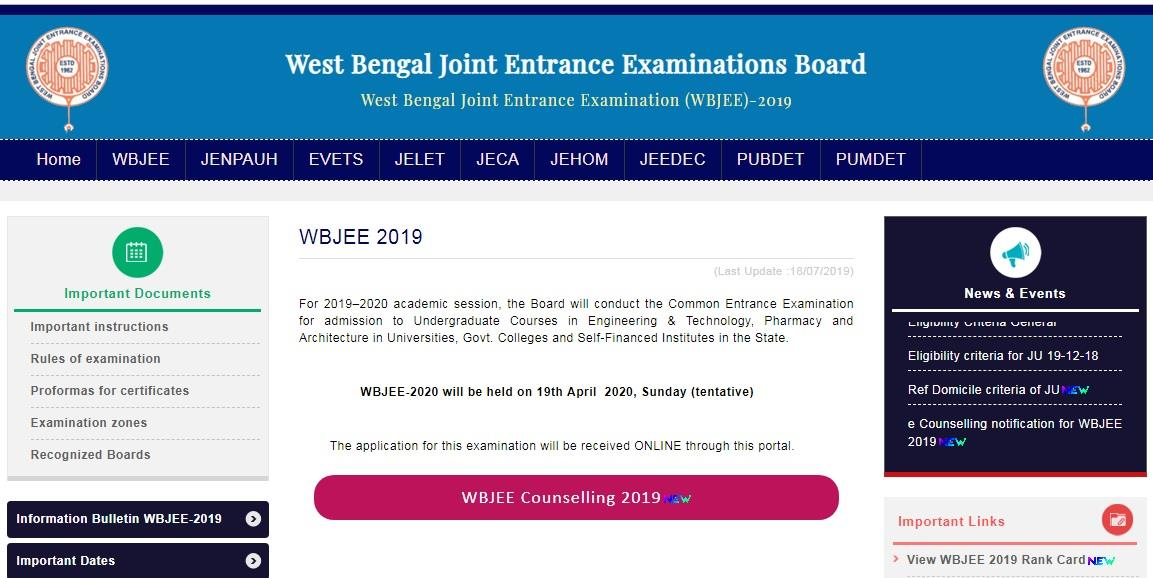 WBJEE 2019 rank card results published