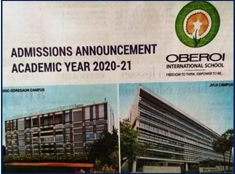 Oberoi International School 2020 Admissions Notification