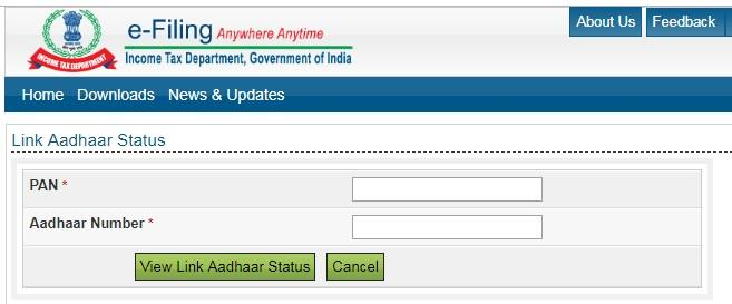 Check the PAN with Aadhaar status