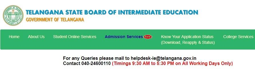 TS Board of Intermediate Exam time table and hall ticket