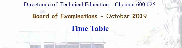 TN DTE Polytechnic Diploma exam time table Oct 2019 1