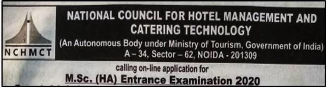NCHMCT 2020 M.Sc.(HA) course admission notification