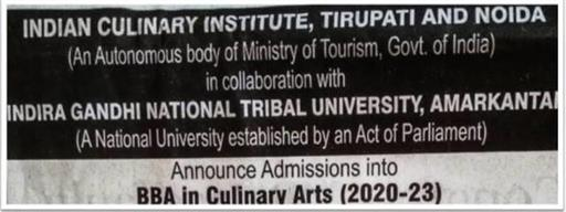 Indian Culinary Institute BBA course admission notification