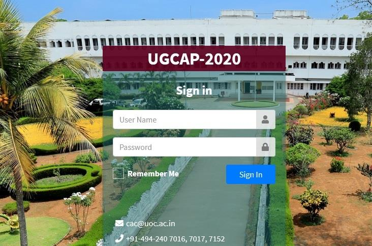 Calicut University UGCAP 2020 first allotment results and ranklists publish