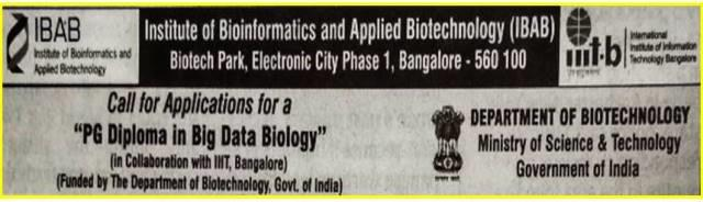 IBAB PG Diploma Program in Big Data Biology admission notificaion banner