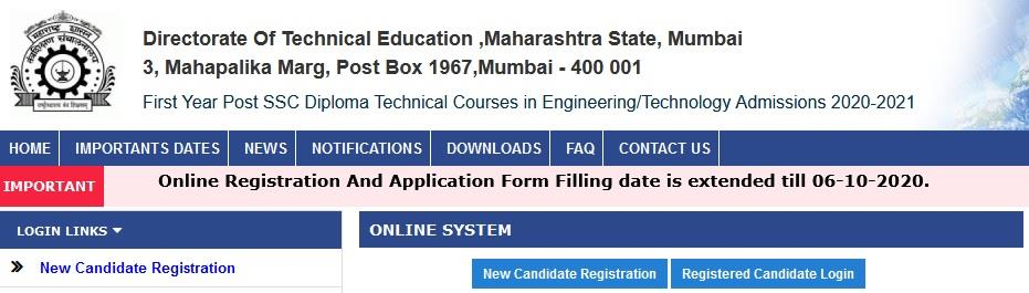 DTE Maharashtra Post SSC Diploma online registration application form and merit results