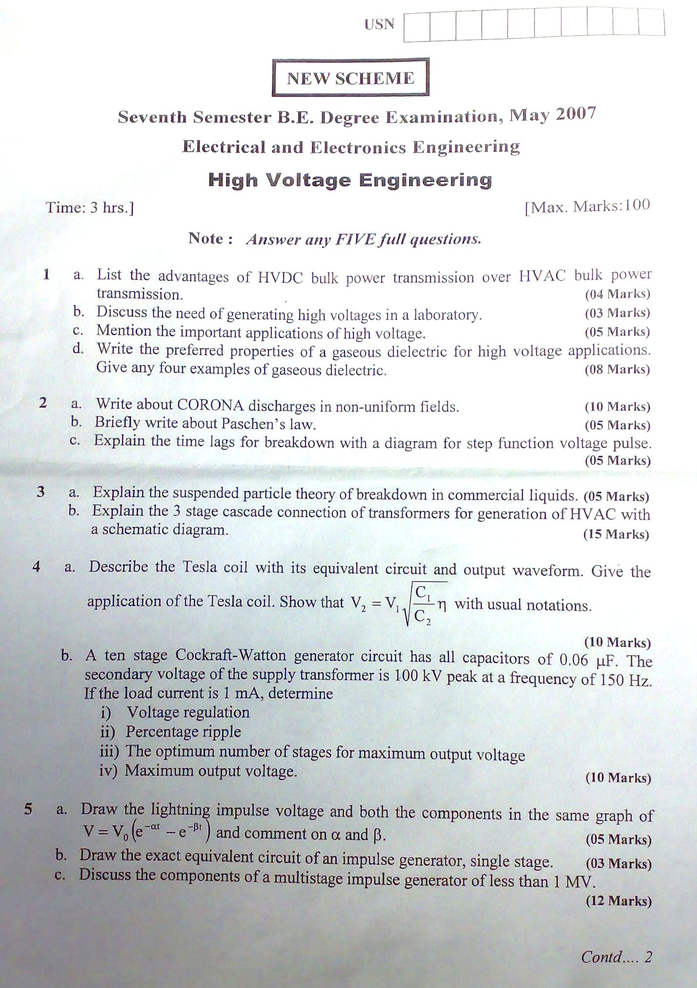 Visvesvaraya Technological University 7th SEM BE MAY 2007