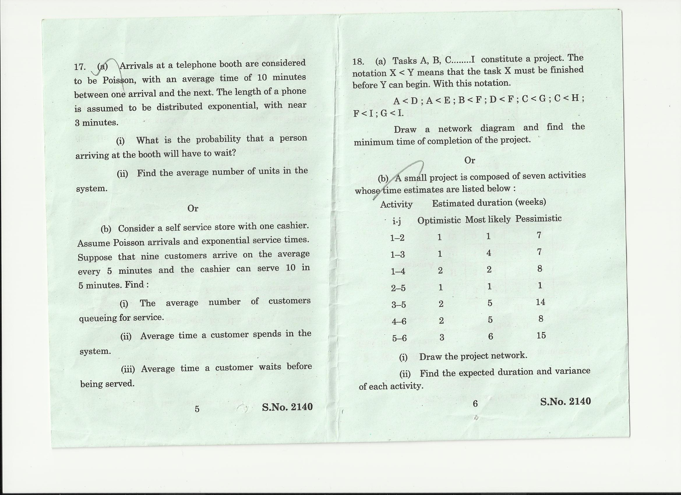 operations research question papers
