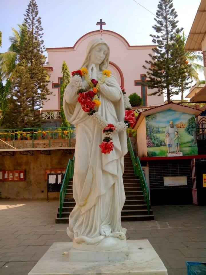 Mother Mary statue in St. Francis D'Assisi High School & Junior College campus